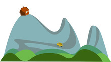 Hill Top House Vector Or Color Illustration