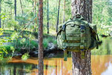 Small Green Travel Backpack Hangs On Tree Branch Against River In Forest.