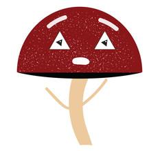 Emoji Of A Tired Mushroom Vector Or Color Illustration
