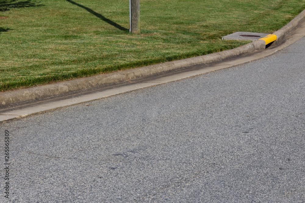 Fototapeta Generic street and sweeping curb, green grass and yellow drain, horizontal aspect