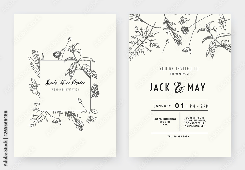 Fototapeta Minimalist wedding invitation card template design, floral black line art ink drawing with square frame on light grey