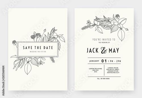 Fototapeta Minimalist Wedding Invitation Card Template Design Floral Black Line Art Ink Drawing With Rectangle Frame On Light Grey
