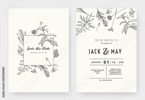 Fotografie, Tablou Minimalist wedding invitation card template design, floral black line art ink dr