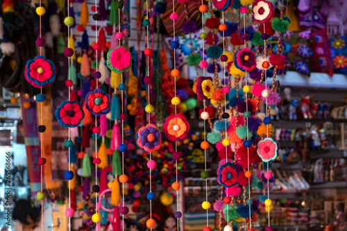 Fotografia, Obraz Colorful peruvian and andean handmade (handcraft) textile and woolen goods with