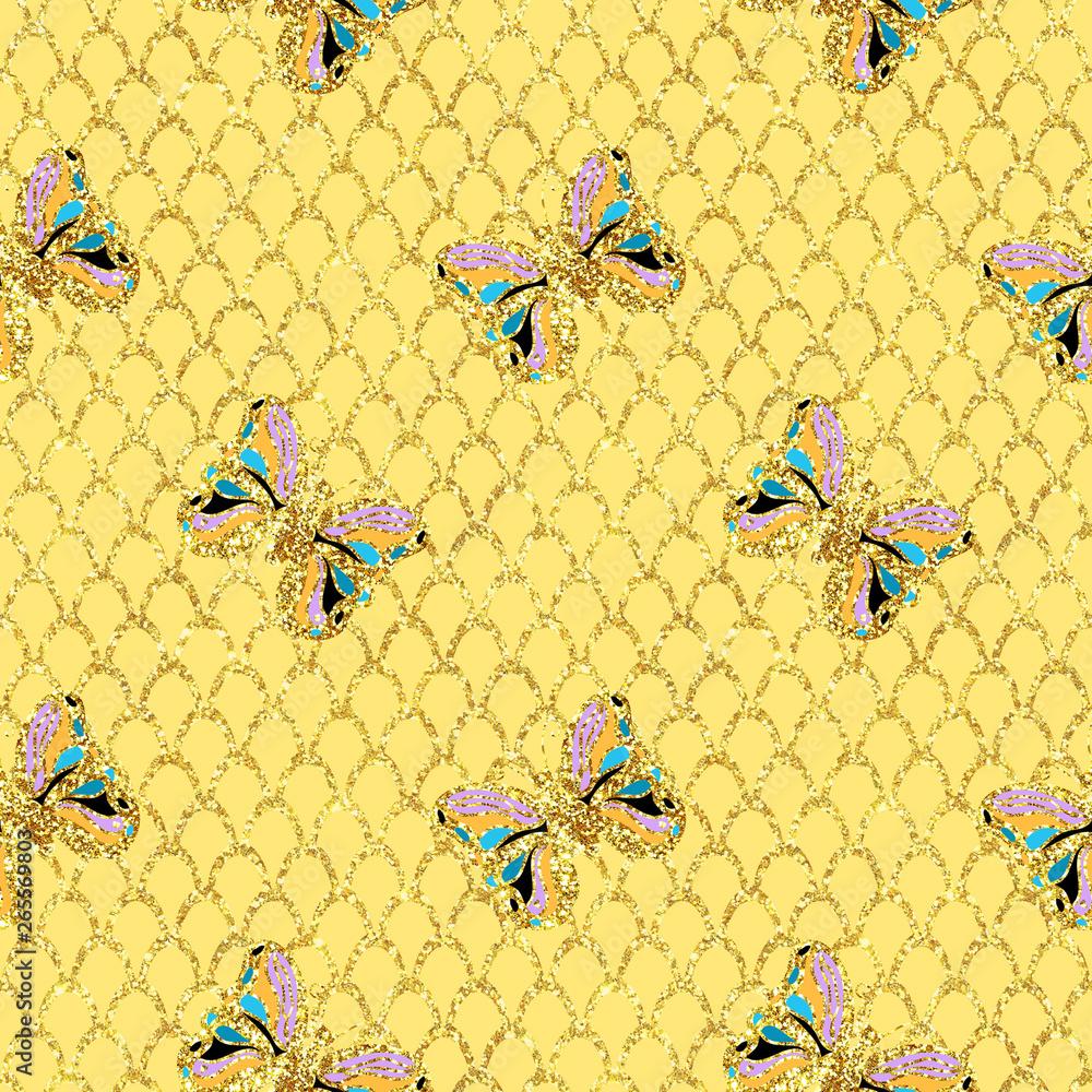 Golden Glitter sparkling  butterfly  seamless carnival pattern Canvas Print