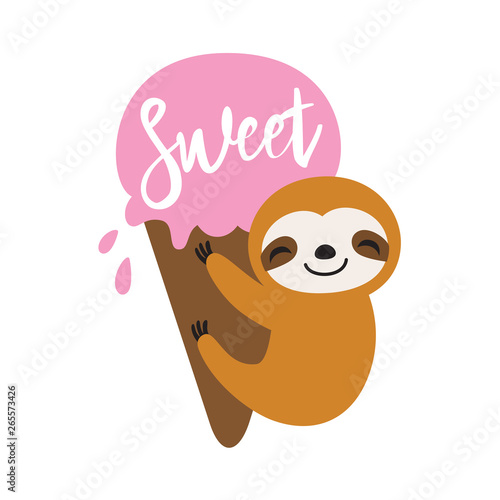 Tela Baby sloth hanging on an ice cream in summer