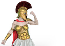 She Is The Spartan Soldier In A White Background