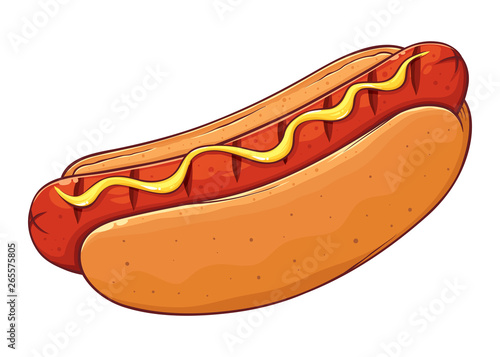 Tablou Canvas Hot Dog With Mustard Hand Drawing