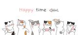 Fototapeta Fototapety na ścianę do pokoju dziecięcego - Draw banner cute cat holding fish.