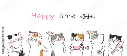 Fotografie, Obraz Draw banner cute cat holding fish.