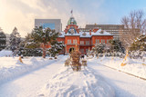Former Hokkaido Government offices during winter in Sapporo, Japan .