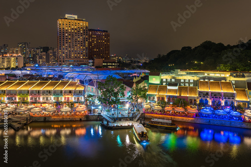 Clarke Quay is a historical riverside quay in Singapore, located within the Singapore River Canvas Print