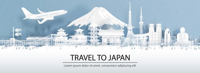 Putničko oglašavanje s konceptom putovanja u Japan s panoramskim pogledom na grad i svjetski poznate znamenitosti Japana u vektorskoj ilustraciji stila izrezanog u papir.