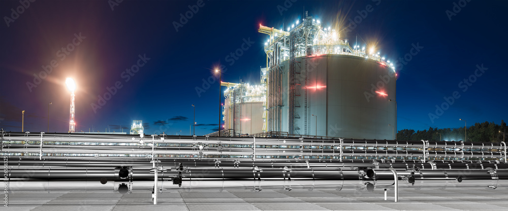 Fototapeta pipelines in the LNG terminal - 3d illustration