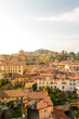 Panoramic aerial view of Bergamo Alta, the upper city. It is a medieval town in northern Italy