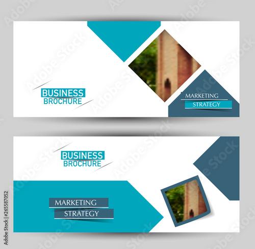 Fototapeta Banner for advertisement. Flyer design or web template set. Vector illustration commercial promotion background. Blue color. obraz