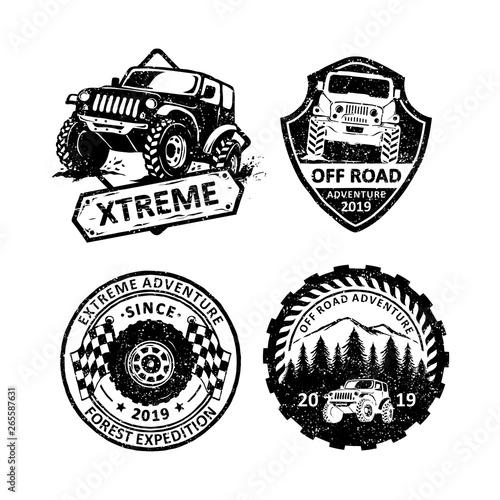 Fotomural  Set of vintage offroad badges labels, emblems and logo