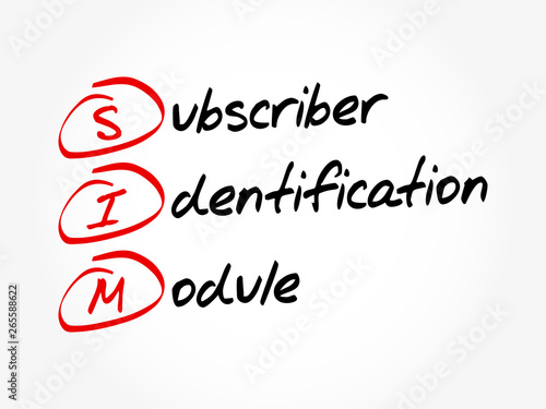 SIM - Subscriber Identification Module acronym, technology concept background Tablou Canvas