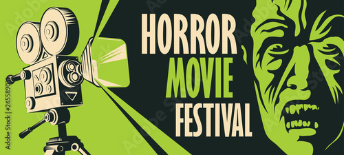 Vector banner for a festival horror movie Canvas Print