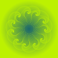 Wired Stylized Jellyfish Rosette In Bright Green Blue Shades