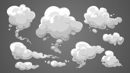 Set of stylized white clouds. Vector illustration collection of smoke.