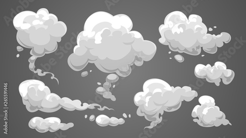 Poster Fumee Set of stylized white clouds. Vector illustration collection of smoke.