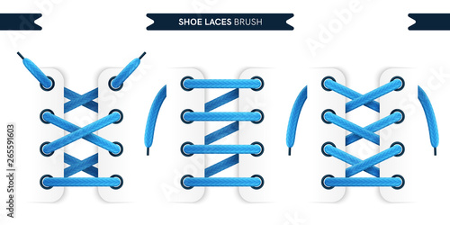 Shoe laces brush set isolated on a white background Poster Mural XXL
