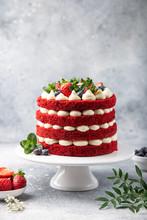 Festive  Red Velvet Cake On White Cake Stand