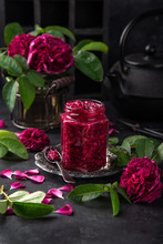 Delicious Homemade Rose Jam In Jar With Rose Flowers