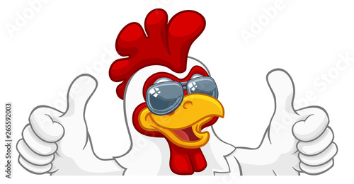 Photo A chicken rooster cockerel bird cartoon character in cool shades or sunglasses p