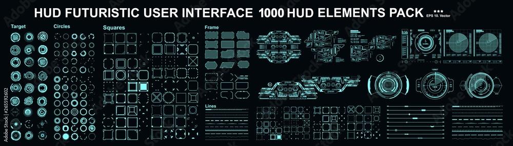 Fototapeta HUD elements mega set pack. Dashboard display virtual reality technology screen. Futuristic user interface.