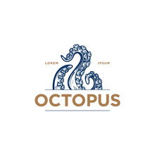 Octopus Tentacles Logo Concept. Hand Drawn Vector Illustration Of An Octopus Palps  In Engraving Technique. Elegant Emblem Design For Japanese Cuisine Restaurant, Sushi Bar.