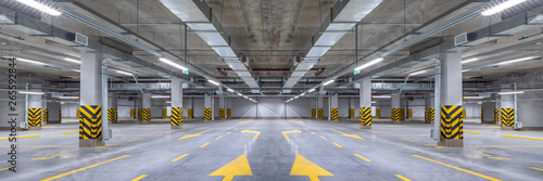 Empty shopping mall underground parking lot or garage interior with concrete str Fototapete