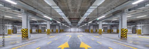 Empty shopping mall underground parking lot or garage interior with concrete str Canvas Print