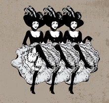 Cancan Dancing Girls. Vector I...