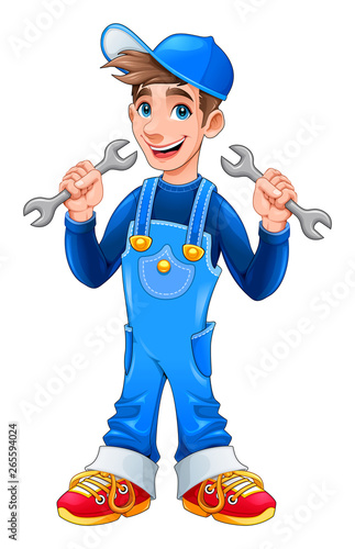 Papiers peints Chambre d enfant Young mechanic with monkey wrenches in his hands