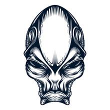 Alien Portrait Mascot In Monochrome Style. Vector Illustration Isolated On White Background.