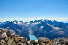 """Lake """"Schlegeis"""" Seen From Top Of Mountain Tux / Reservoir With Dam In Austria"""