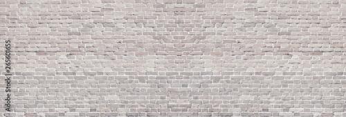 Obraz Wide light brick wall texture. Rough brickwork panoramic vintage background - fototapety do salonu