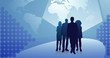 Animation of stylistic blue background with silhouettes of business people.