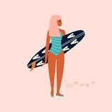 Dziewczyna surfingowiec trzyma surfboard. Letni tropikalny druk lub plakat. Wektorowa ręka rysująca ilustracja. - 265604648