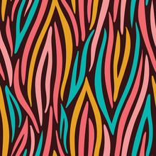 Colorful Abstract Hand Drawn Wavy Vector Seamless Pattern. Zebra Animal Skin. Trendy Fashion Print