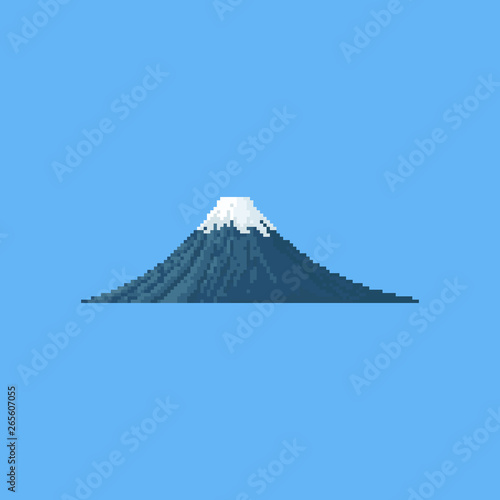 Fototapeta Pixel fuji mountain.8bit.japan volcano travel spot.