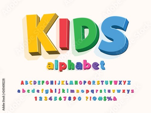 Colorful stylized kids alphabet design Tapéta, Fotótapéta