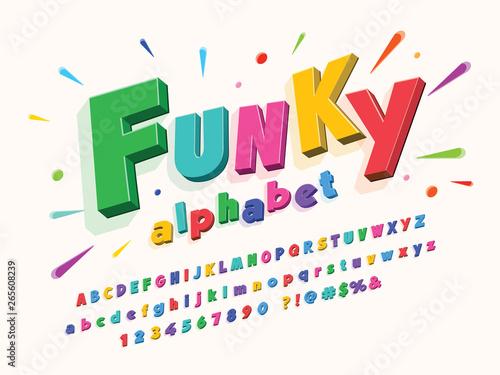 Colorful stylized kids alphabet design
