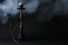 Hookah With Fume On Dark Backg...
