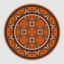 Decorative Round Ornament. Ceramic Tile Pattern. Pattern For Plates Or Dishes. Islamic, Indian, Arabic Motifs. Porcelain Pattern Design. Abstract Floral Ornament Border