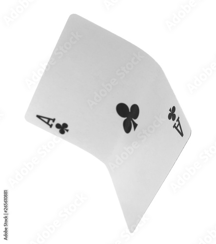 Photo  Playing cards, ace of club isolated on white background with clipping path, seri