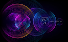 Abstract Digital Future Circle Shapes Vector Background Consist On Wave Lines. Tech Music Sound Concept. Electronic Light Rounds Illustration On Black Backdrop