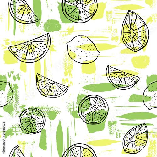 Hand drawn black line art citrus fruit on colorful abstract brush stroke background Fototapeta